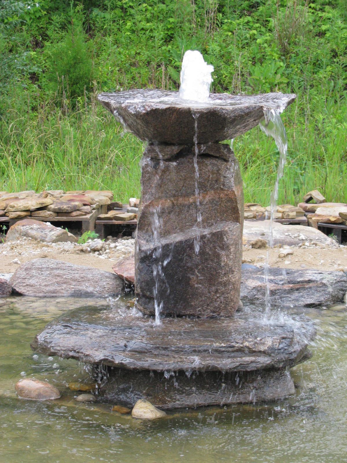 T e q s stone inc bubbler fountains for Waterfall fountain